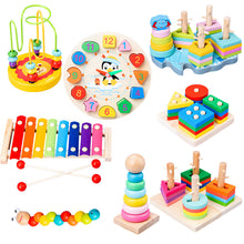 Load image into Gallery viewer, HOT SALE Baby Toys Colorful Wooden Blocks Baby Music Rattles Graphic Cognition Early Educational Toys For Baby 0-12 Months