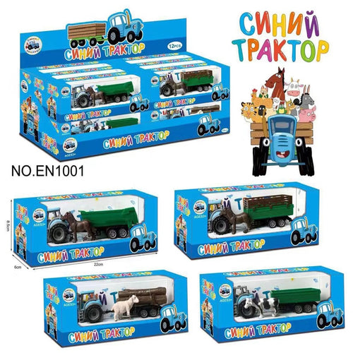 1 pcs Blue Farm Tractor Toy Russian Cartoon Tractor Car Toy Role Play Toys for Kids Boy New Years Gifts Random delivery