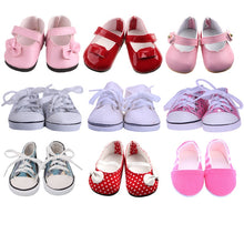 Load image into Gallery viewer, 9 Styles Doll Clothes Shoes White Tube Canvas Shoes For 18 Inch American &43 Cm Baby Doll For Our Generation Christmas Girl`s