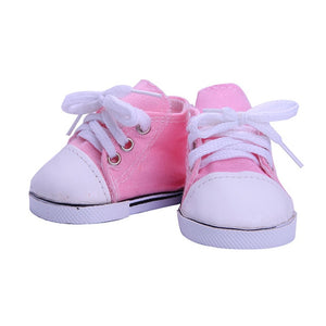 9 Styles Doll Clothes Shoes White Tube Canvas Shoes For 18 Inch American &43 Cm Baby Doll For Our Generation Christmas Girl`s