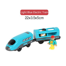 Load image into Gallery viewer, Kids Electric Train Toys Magnetic Slot Diecast Electric Railway with Two Carriages Train Wood Toy FIT T-hmas Wooden Brio Tracks