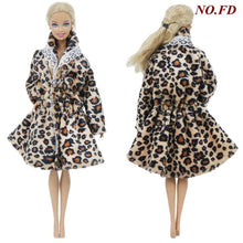 Load image into Gallery viewer, 1 Pcs Handmade High Quality Doll Coat Dress Fur for Barbie Doll Winter Wear Leopard Outfit Doll Accessories Kids 12'' Doll Toy