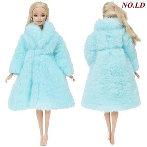 1 Pcs Handmade High Quality Doll Coat Dress Fur for Barbie Doll Winter Wear Leopard Outfit Doll Accessories Kids 12'' Doll Toy
