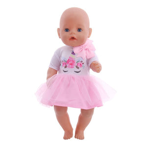 Doll Unicorn Clothes 15 Sets T-Shirt+Skirt/Pants Dress Fit 18 Inch American&43 Cm Baby New Born Doll Generation Christmas Girl`s