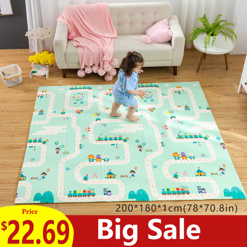 180X200CM Baby Mat 1CM Thickness Cartoon XPE Kid Play Mat Foldable Anti-skid Carpet Children Game Mat