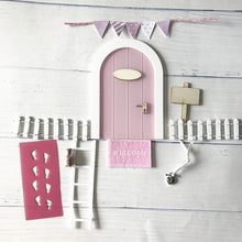 Load image into Gallery viewer, Mini Fairy door Hand Made Cute pink Mouse hole, miniature wooden door with bunting and personalised sign post