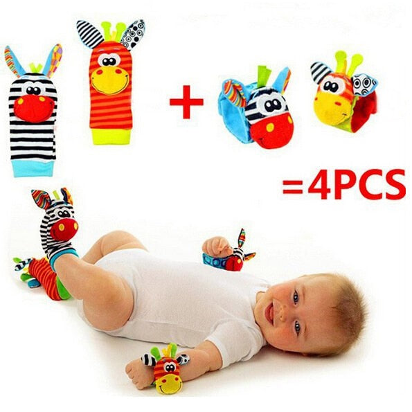 2017 Free shipping (4pcs=2 pcs waist+2 pcs socks)/lot,baby rattle toys Garden Bug Wrist Rattle and Foot Socks