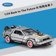 Load image into Gallery viewer, 1/24 Scale Metal Alloy Car Diecast Model Part 1 2 3 Time Machine DeLorean DMC-12 Model Toy Back to the Future Fly version Part 2