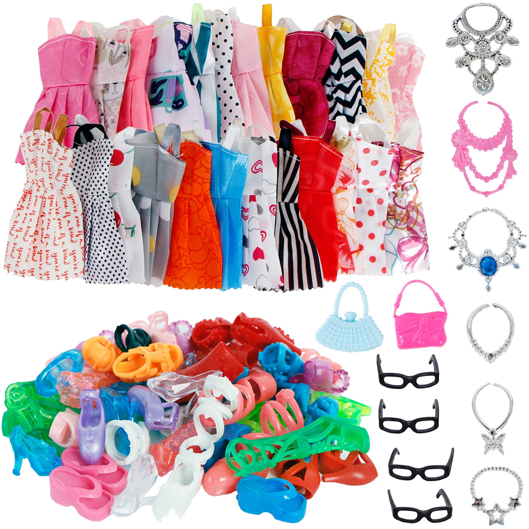 32 Item/Set Doll Accessories=10 Mix Fashion Cute Dress+ 4 Glasses+ 6 Necklaces+2 Handbag+ 10 Shoes Dress Clothes For Barbie Doll