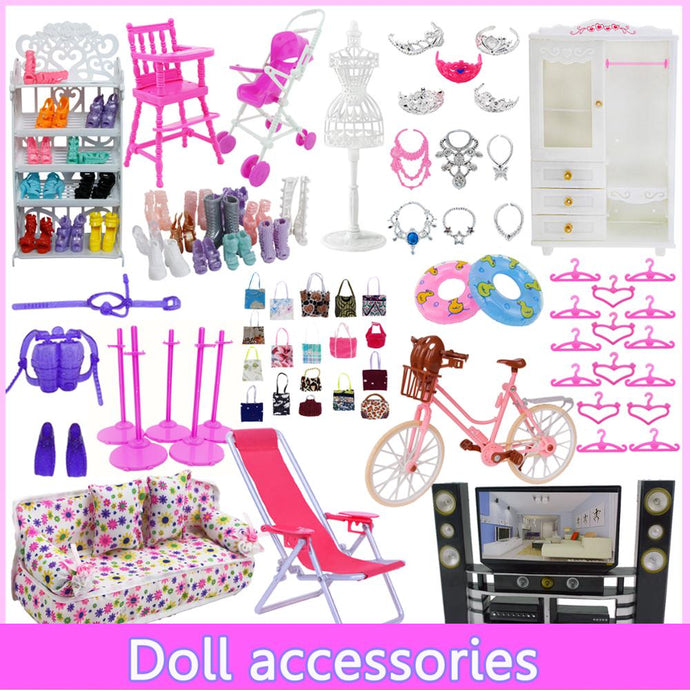 Mix Cute Doll Furniture Pretend Play Toy Hangers TV Sofa Shoes Rack for Barbie Doll for Kelly Dollhouse Accessories Girl Toy