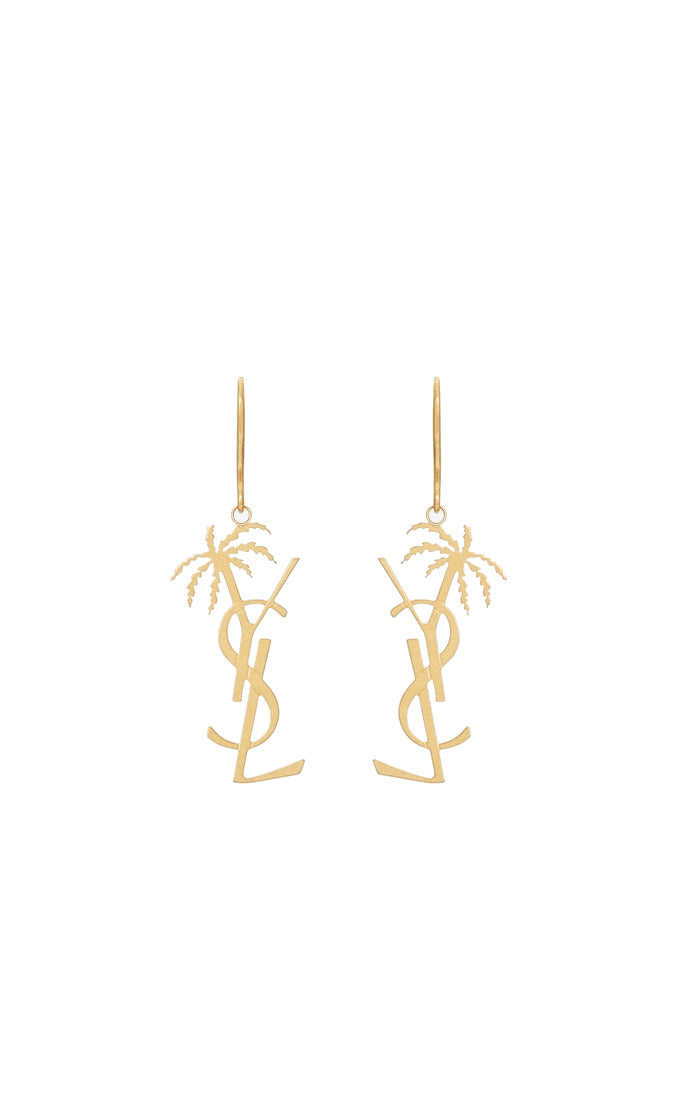 monogram palm tree earrings
