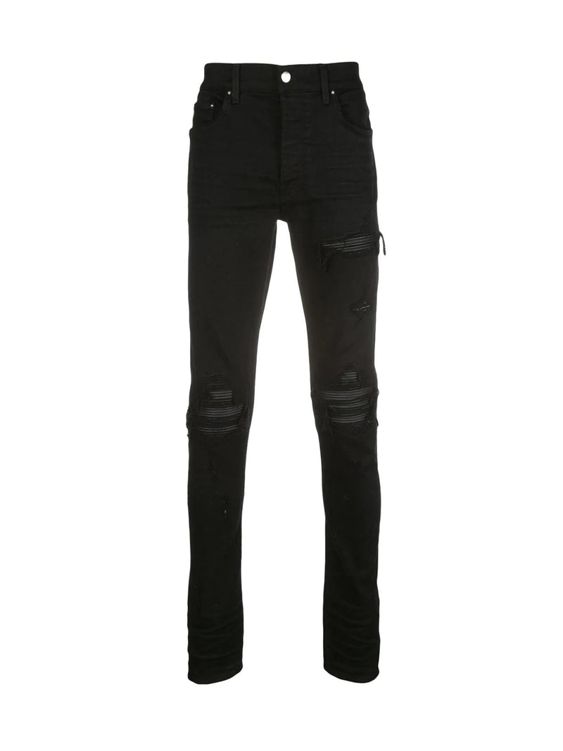 BIKER JEANS WITH LEATHER INSERTS