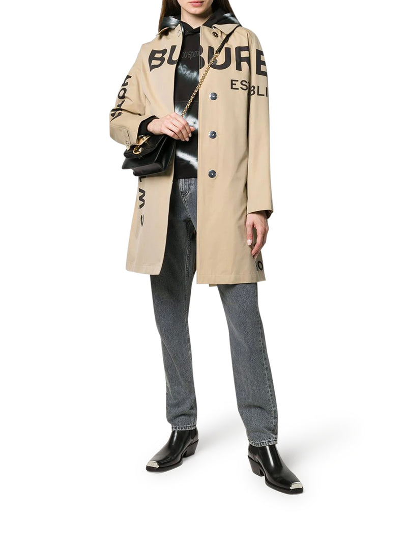 HORSEFERRY LOGO PRINT CAR COAT