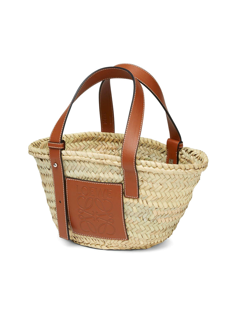 Small Basket bag in palm leaf and calfskin