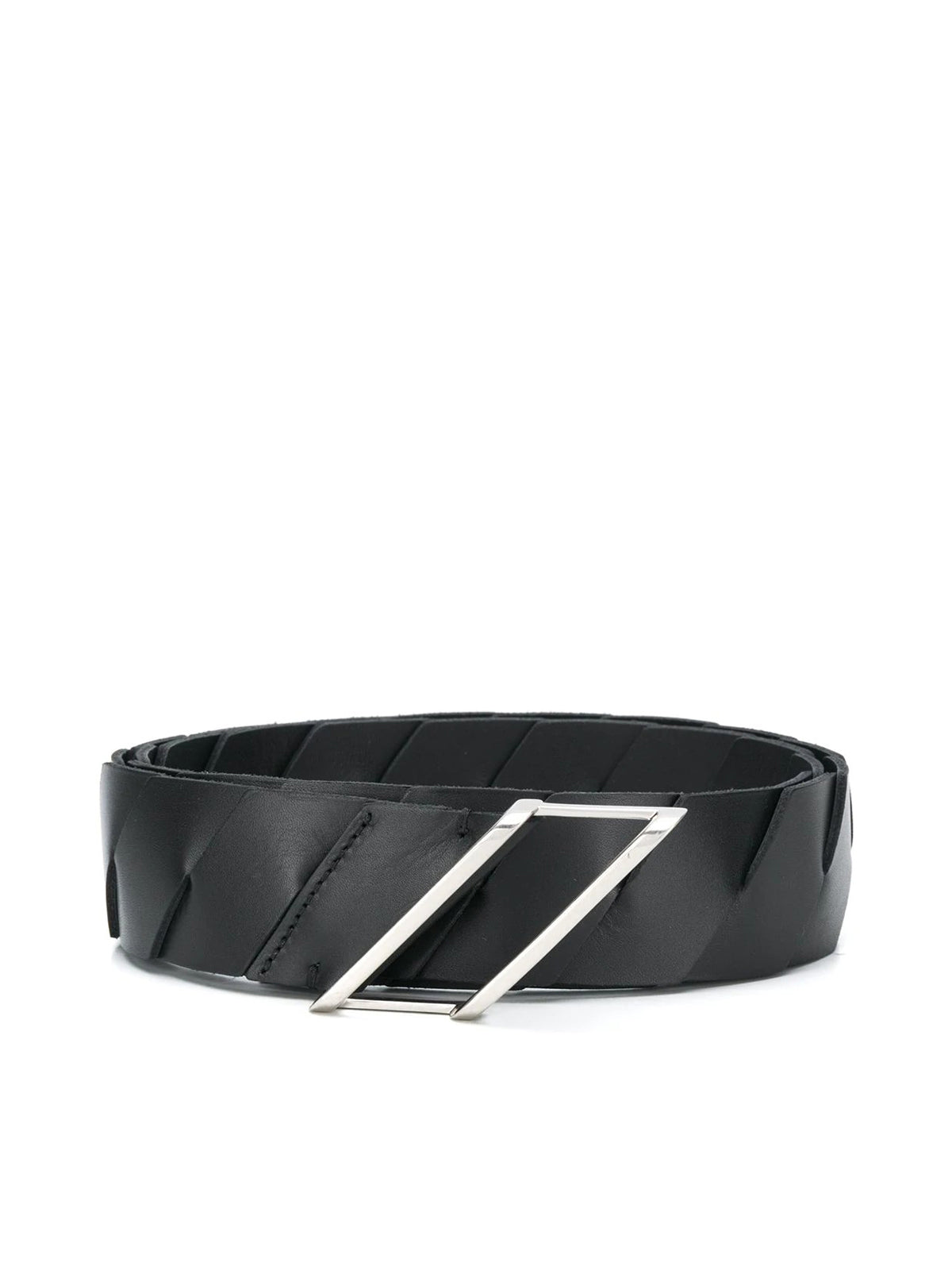Intrecciato weave leather belt