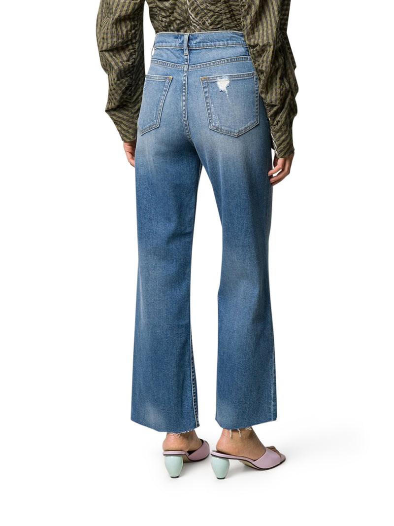 DENIM HIGH RISE CROPPED JEANS