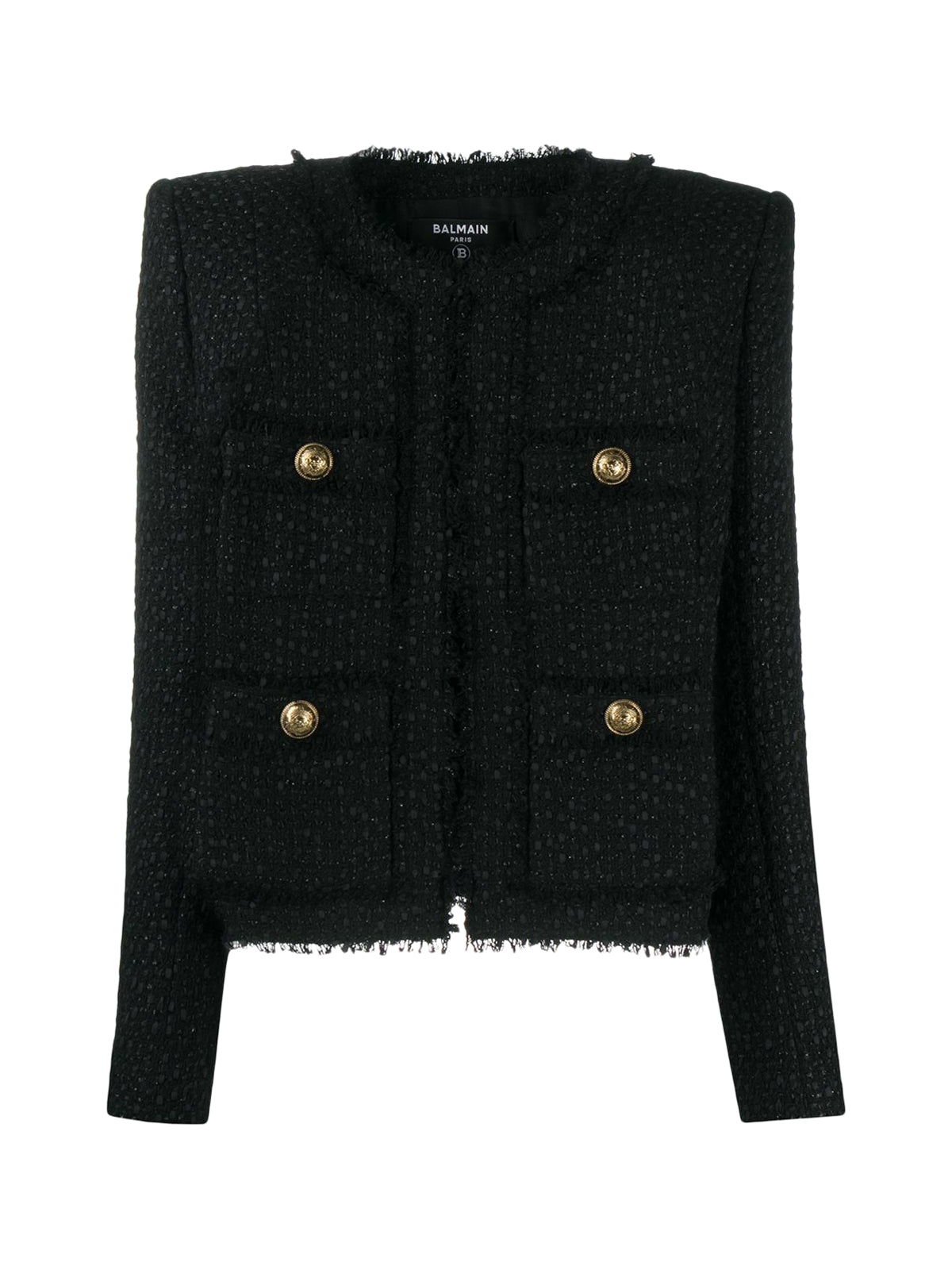 Balmain Collarless Tweed Jacket