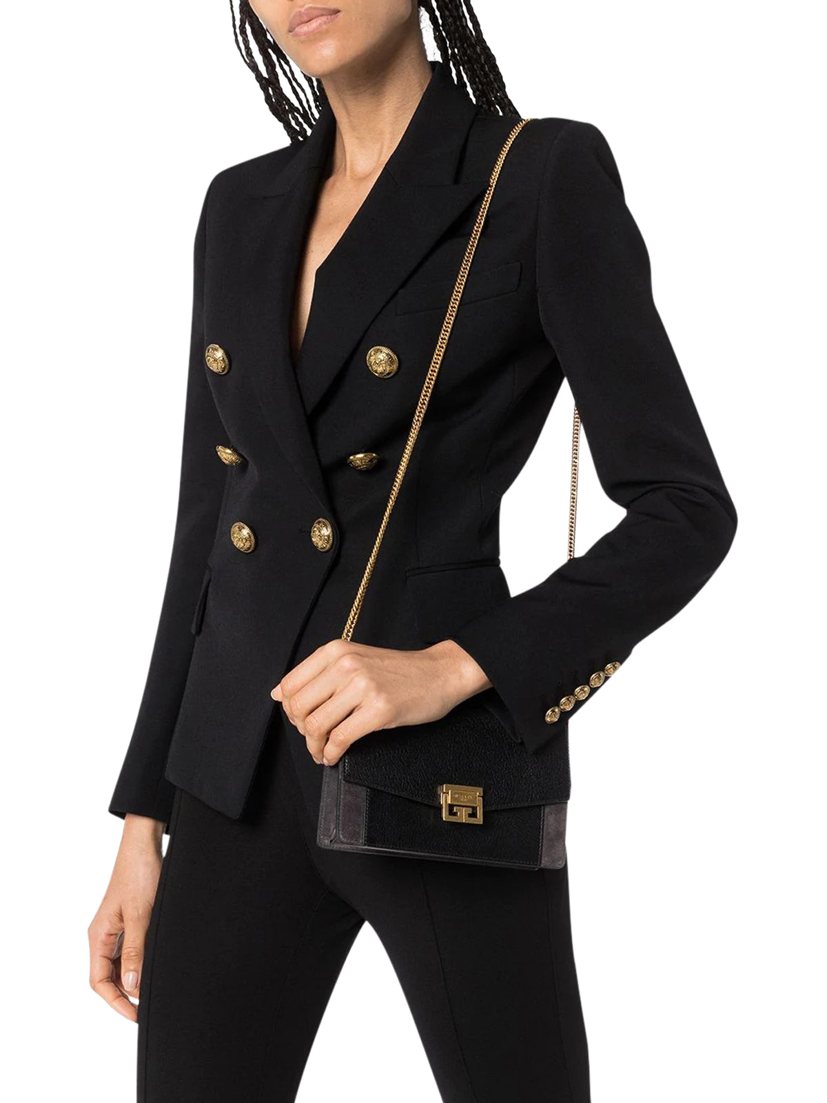button-embellished blazer