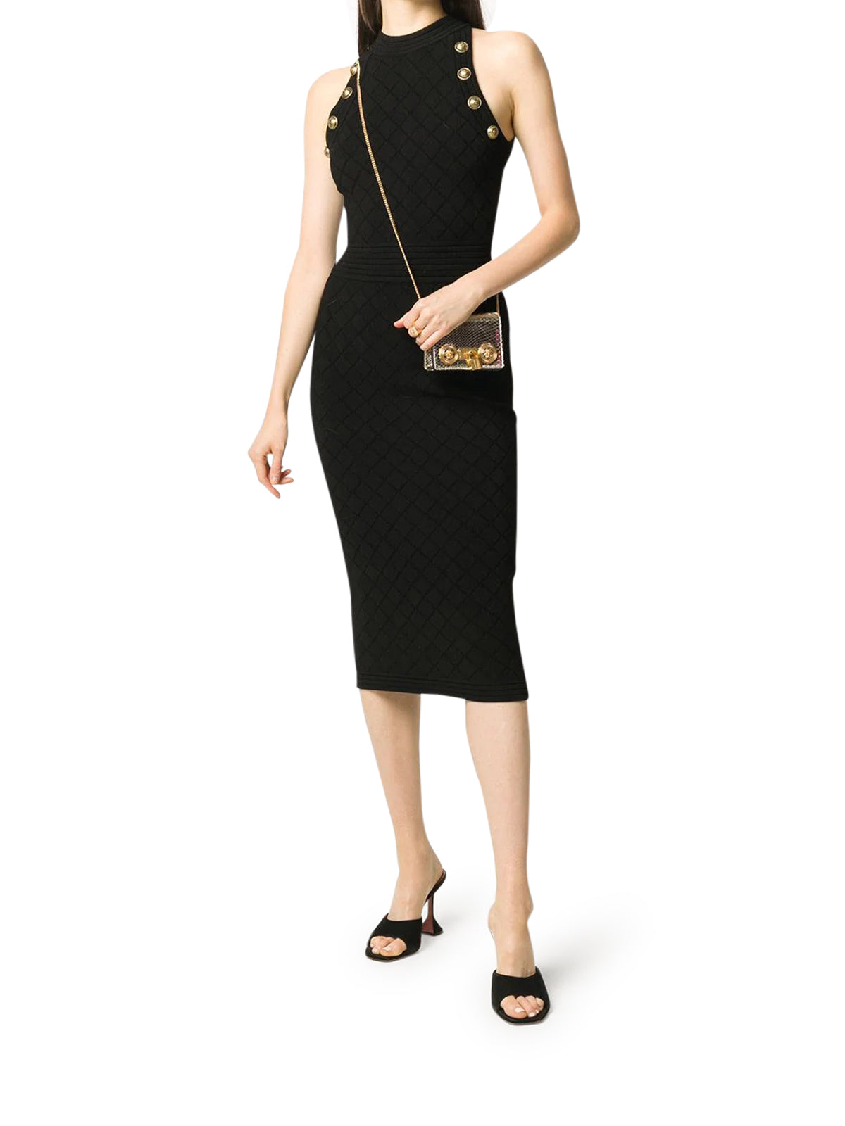 diamond knit midi dress