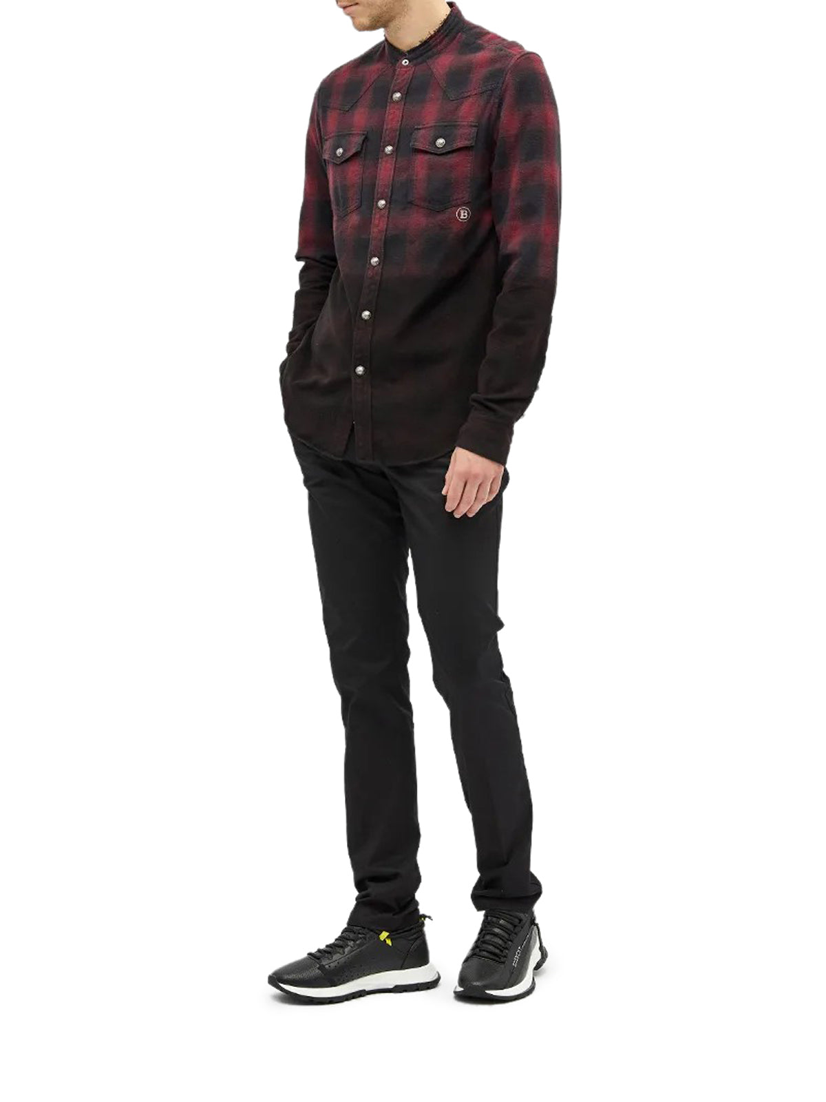 BALMAIN DIP DYED CHECK SHIRT