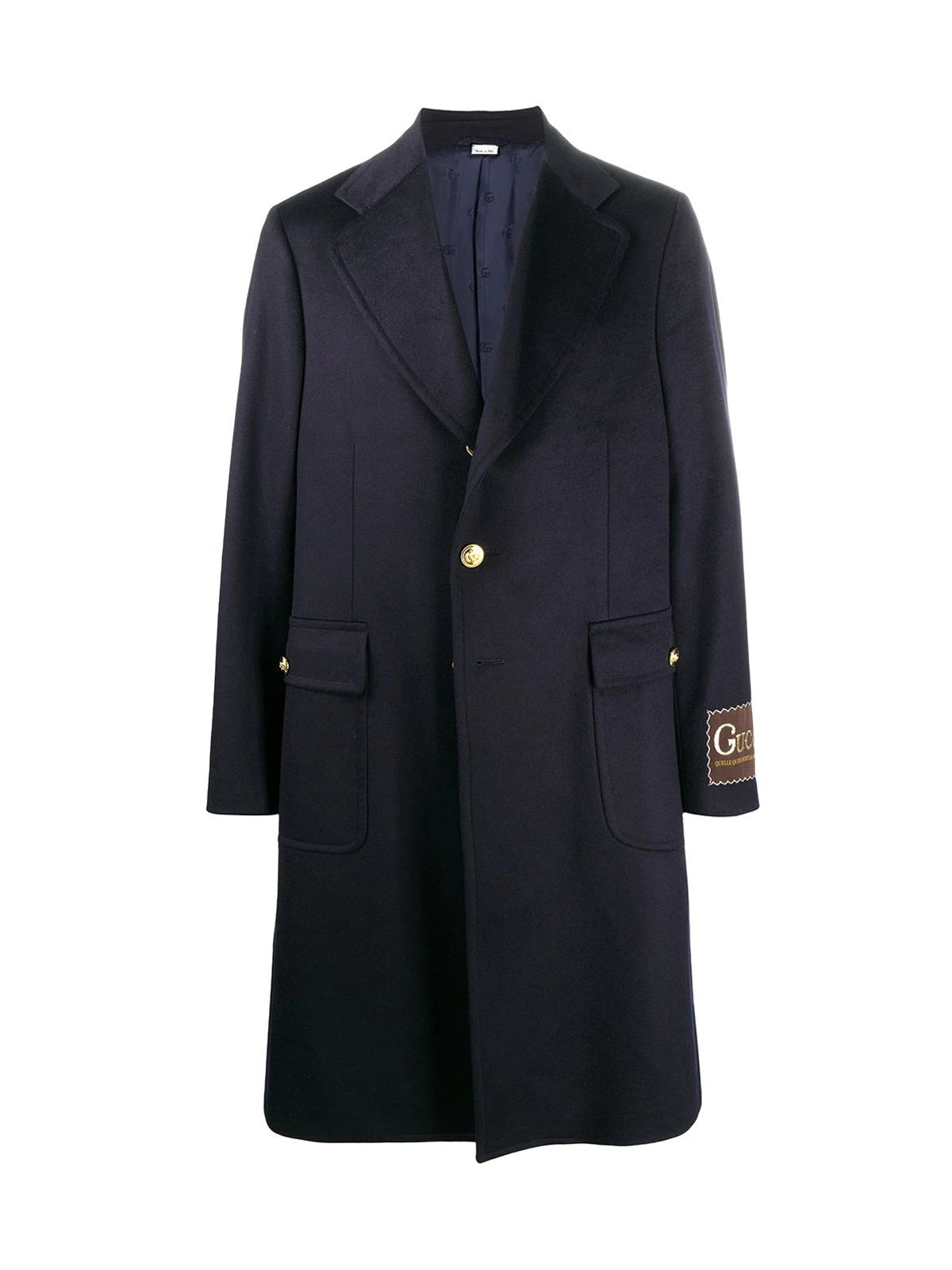Double G button single-breasted coat