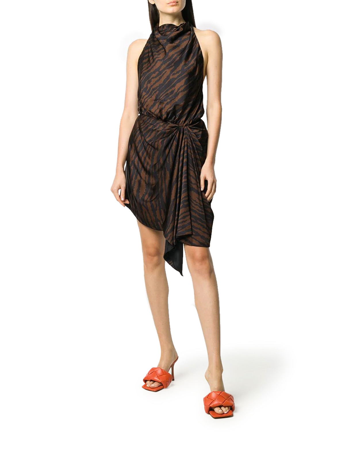 tiger-print halterneck dress