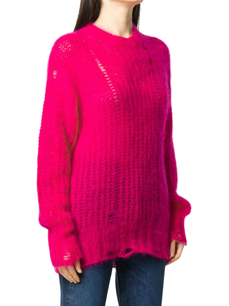 distressed-effect knitted jumper