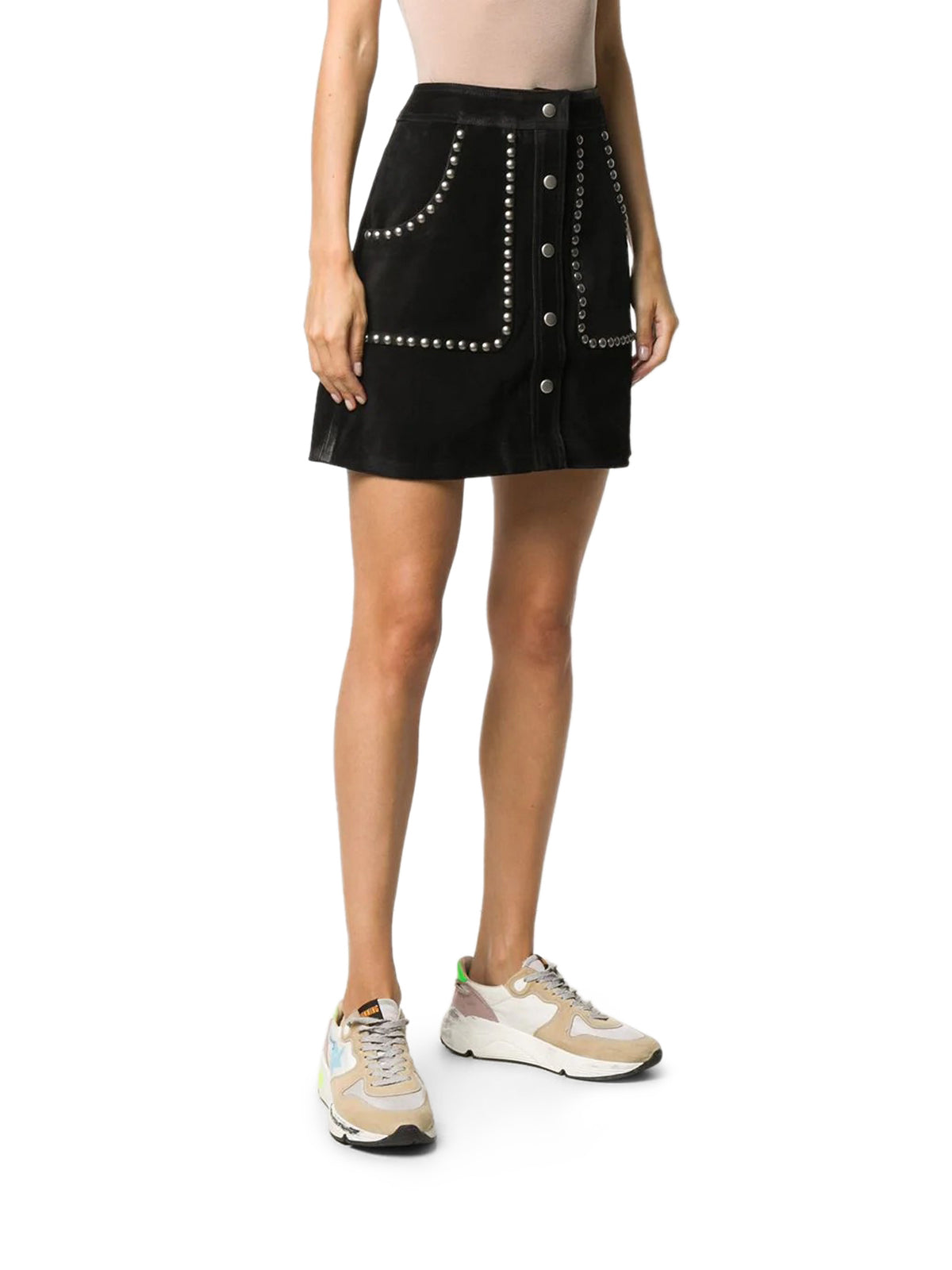 studded A-line mini skirt