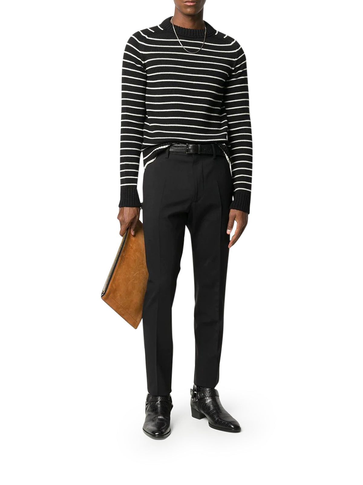 striped crew-neck jumper