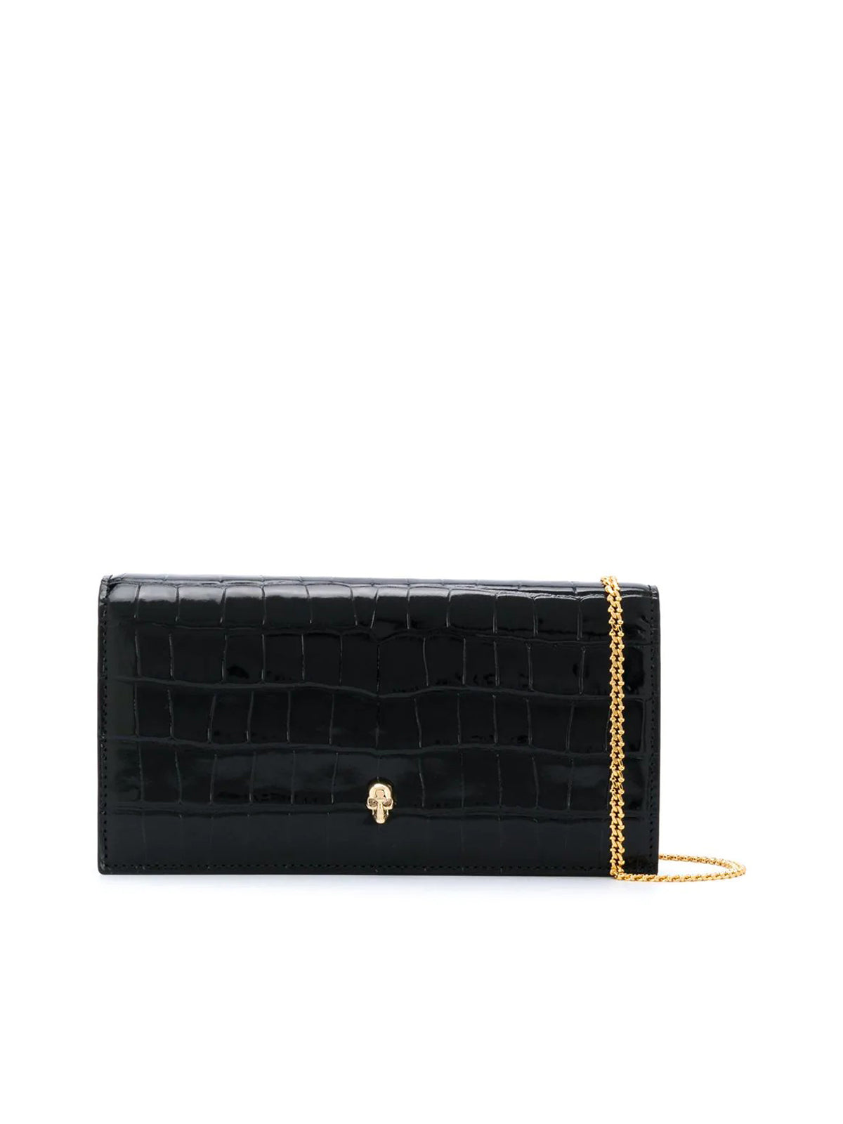 crinkled leather clutch bag