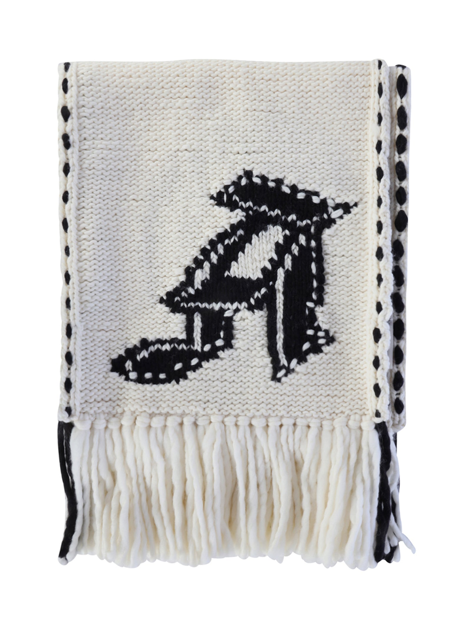 skull knit frayed edge scarf