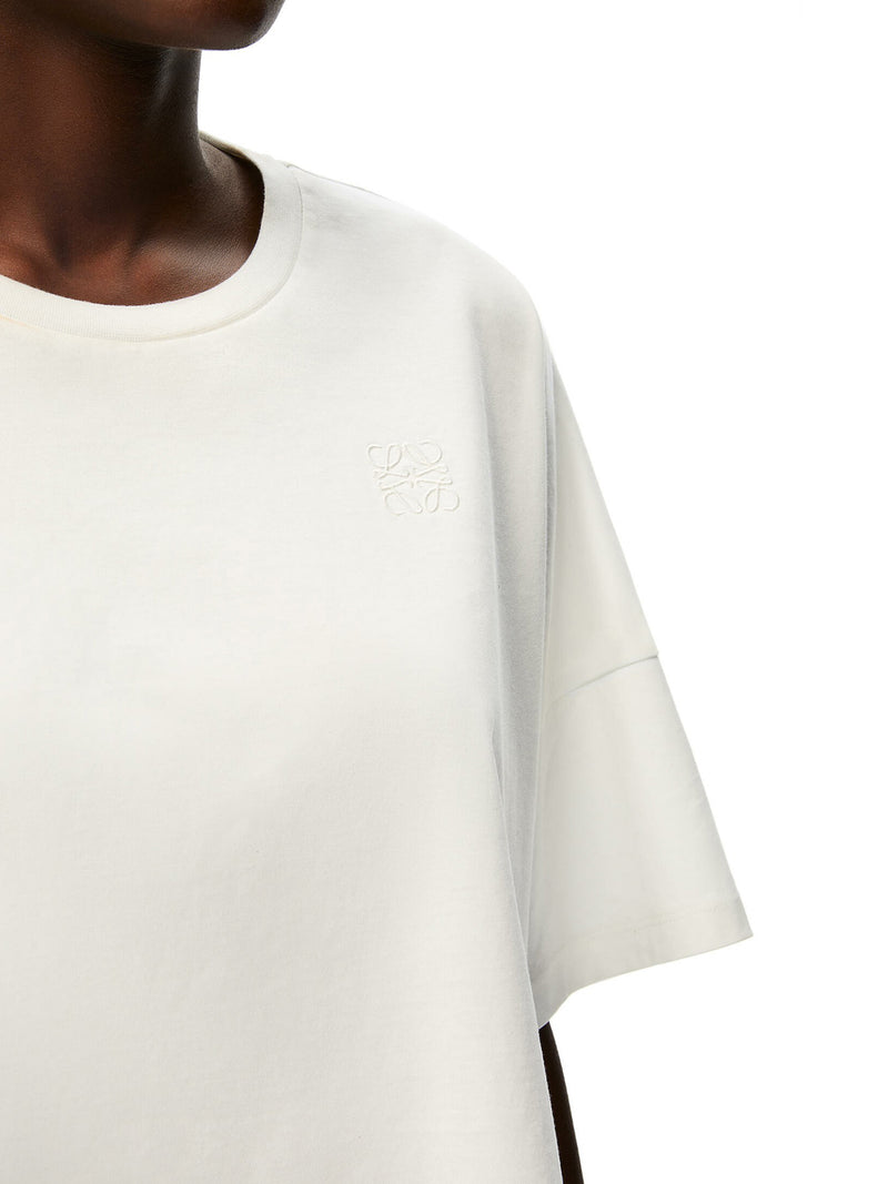 Anagram embroidered cropped t-shirt