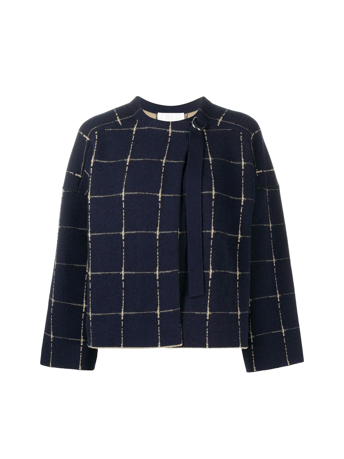 cashmere-wool blend boxy check jumper