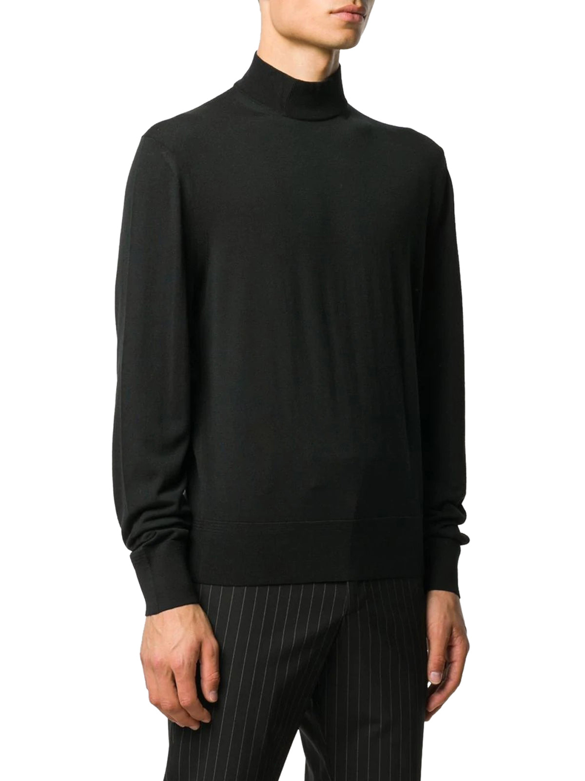 ribbed roll neck wool jumper