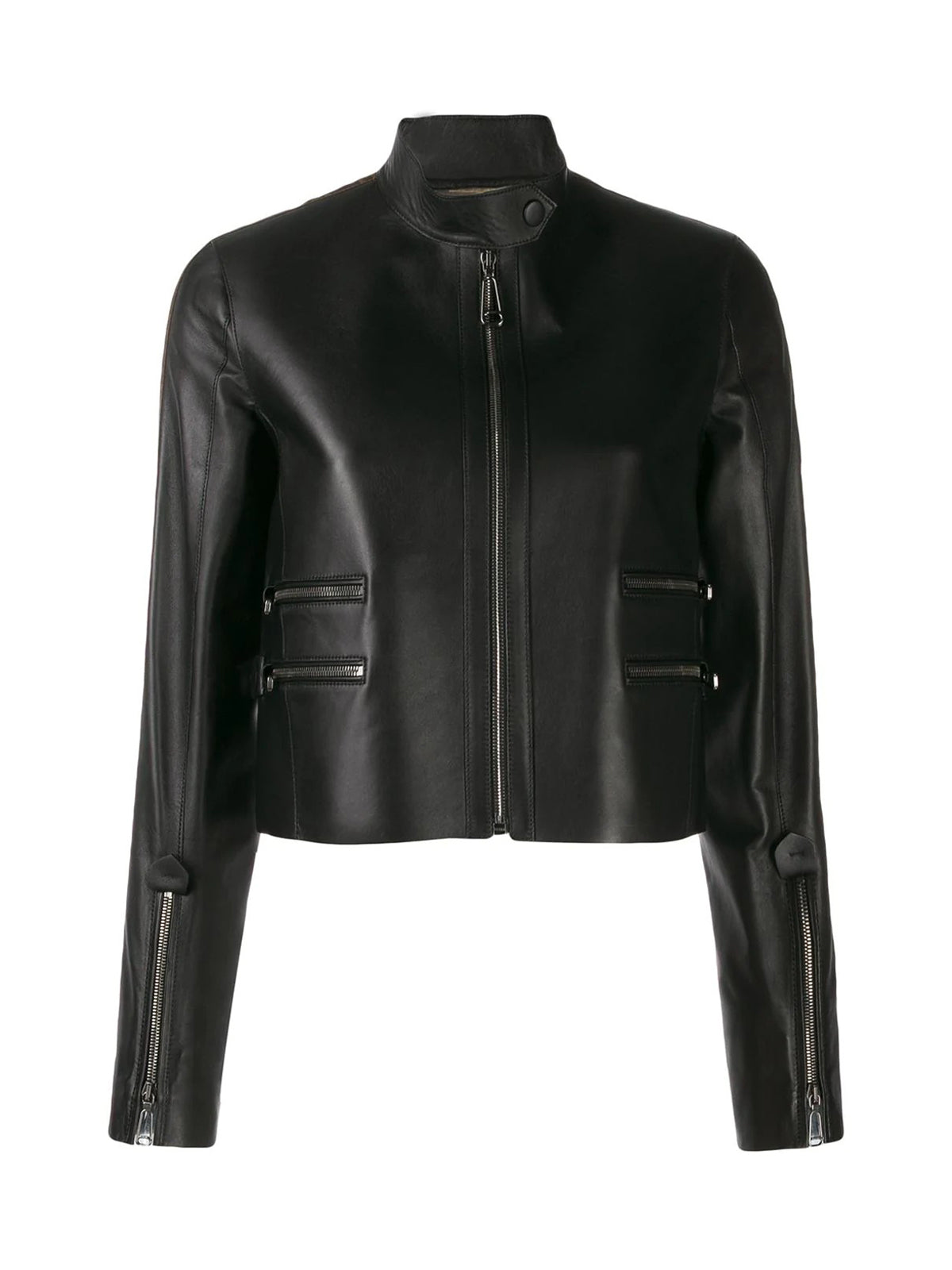 FF logo leather jacket