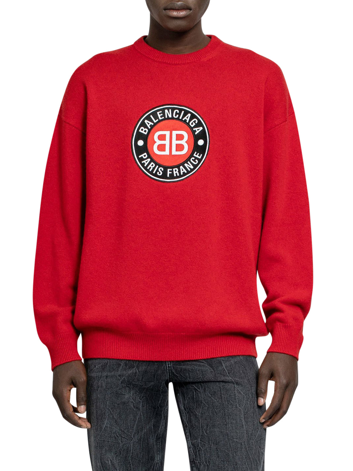 Red circle logo crewneck jumper