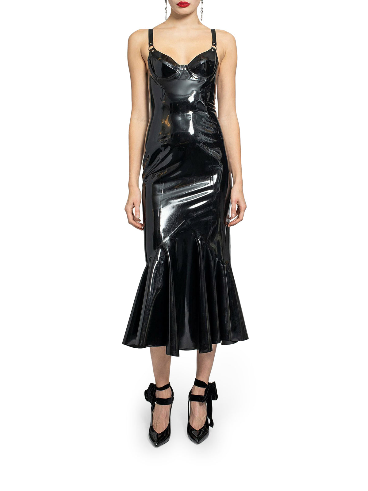 Black mermaid bustier dress in latex
