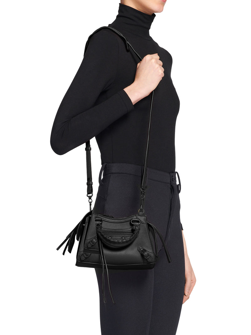 Black neo classic mini top handle bag