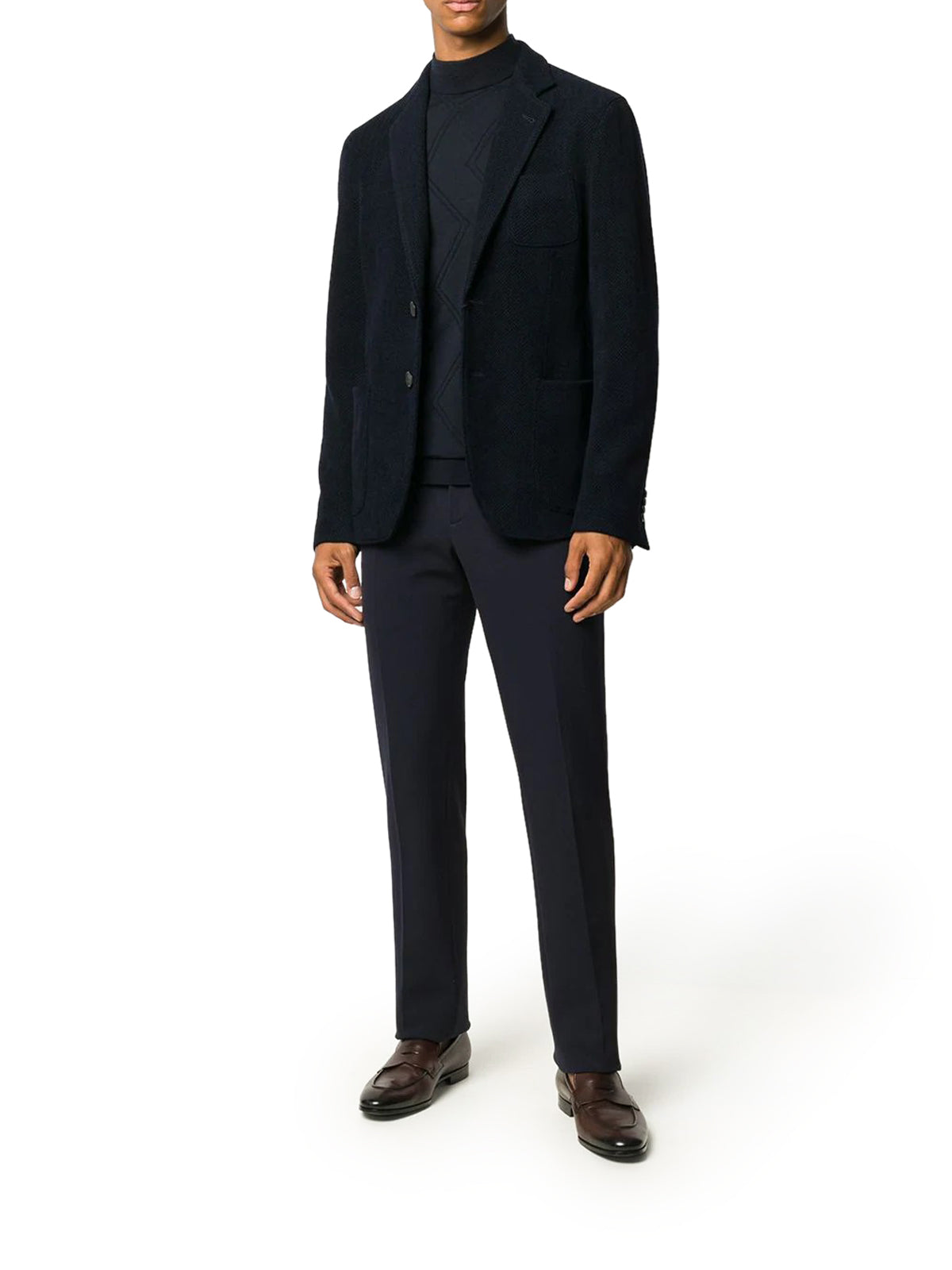 herringbone single-breasted blazer