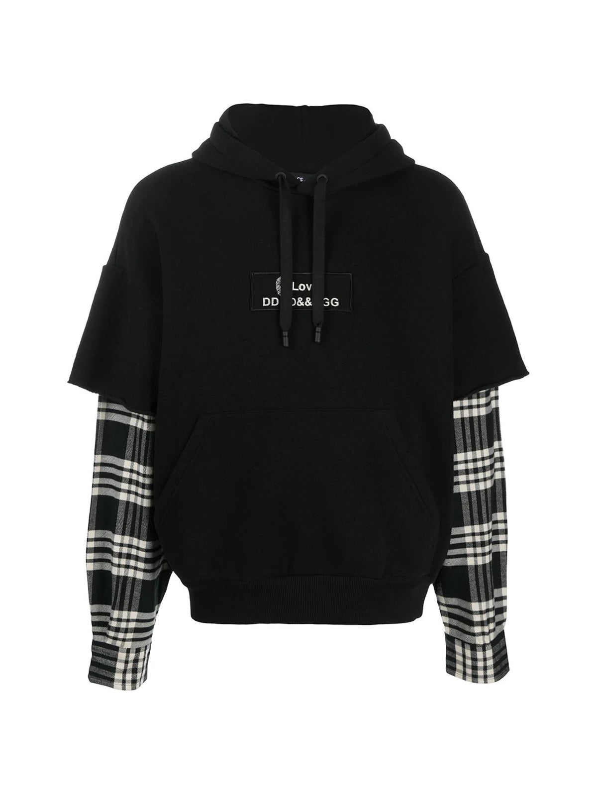 layered-effect hoodie