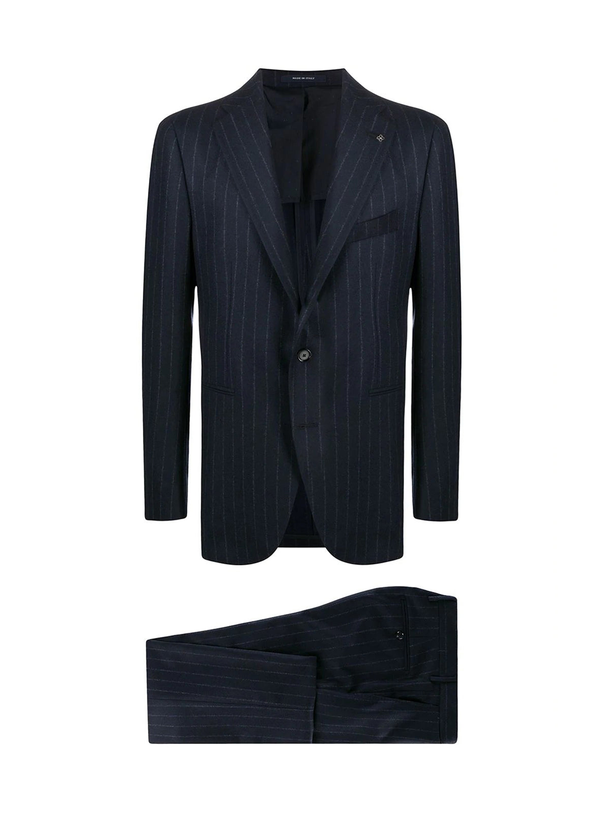 single breasted pinstripe suit