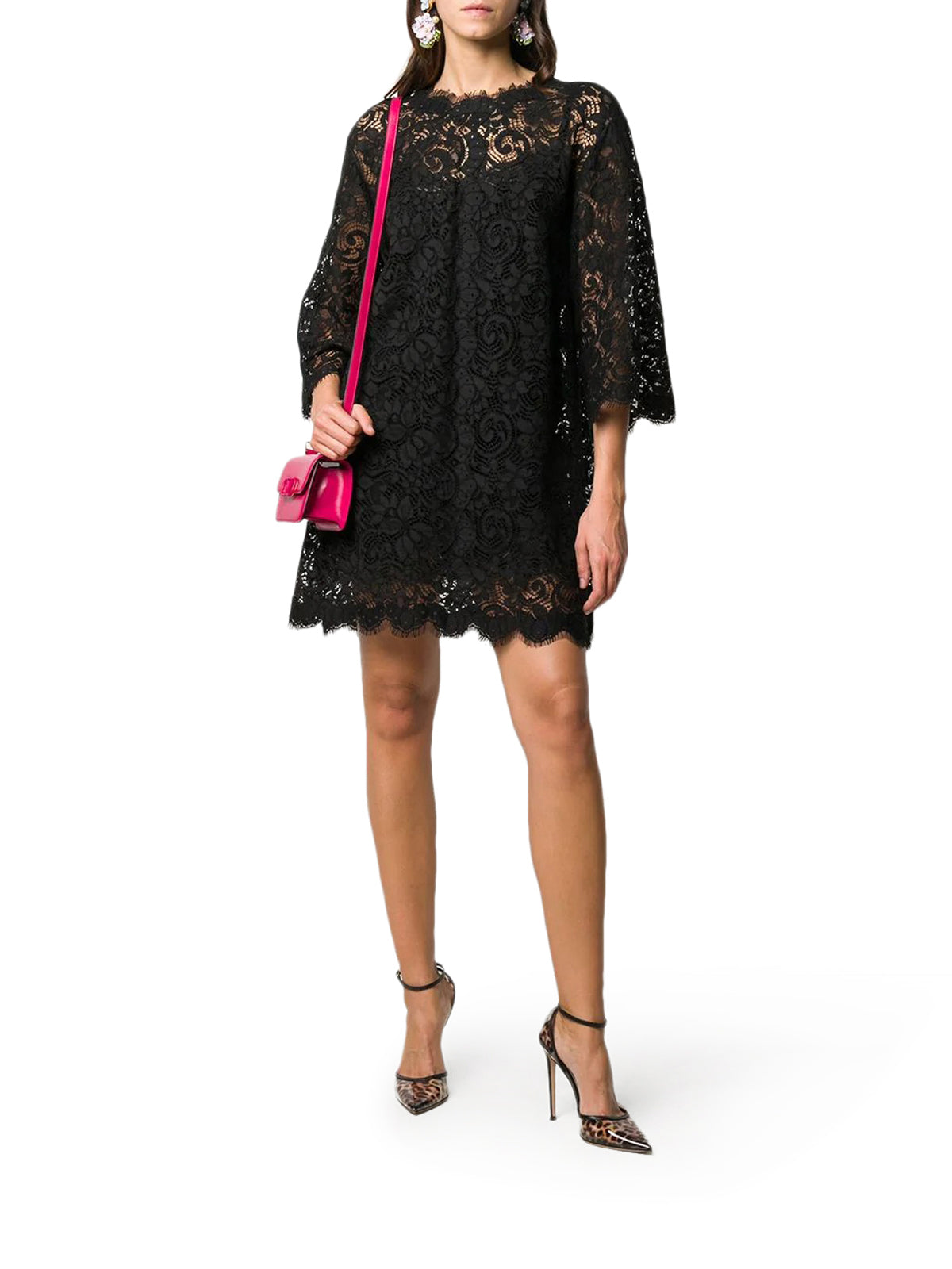 box pleat lace dress