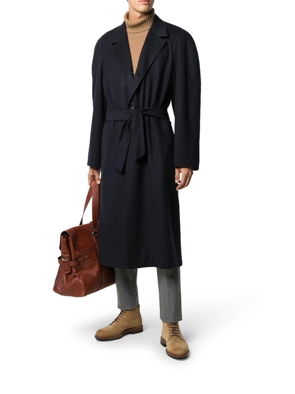 belted mid-length coat
