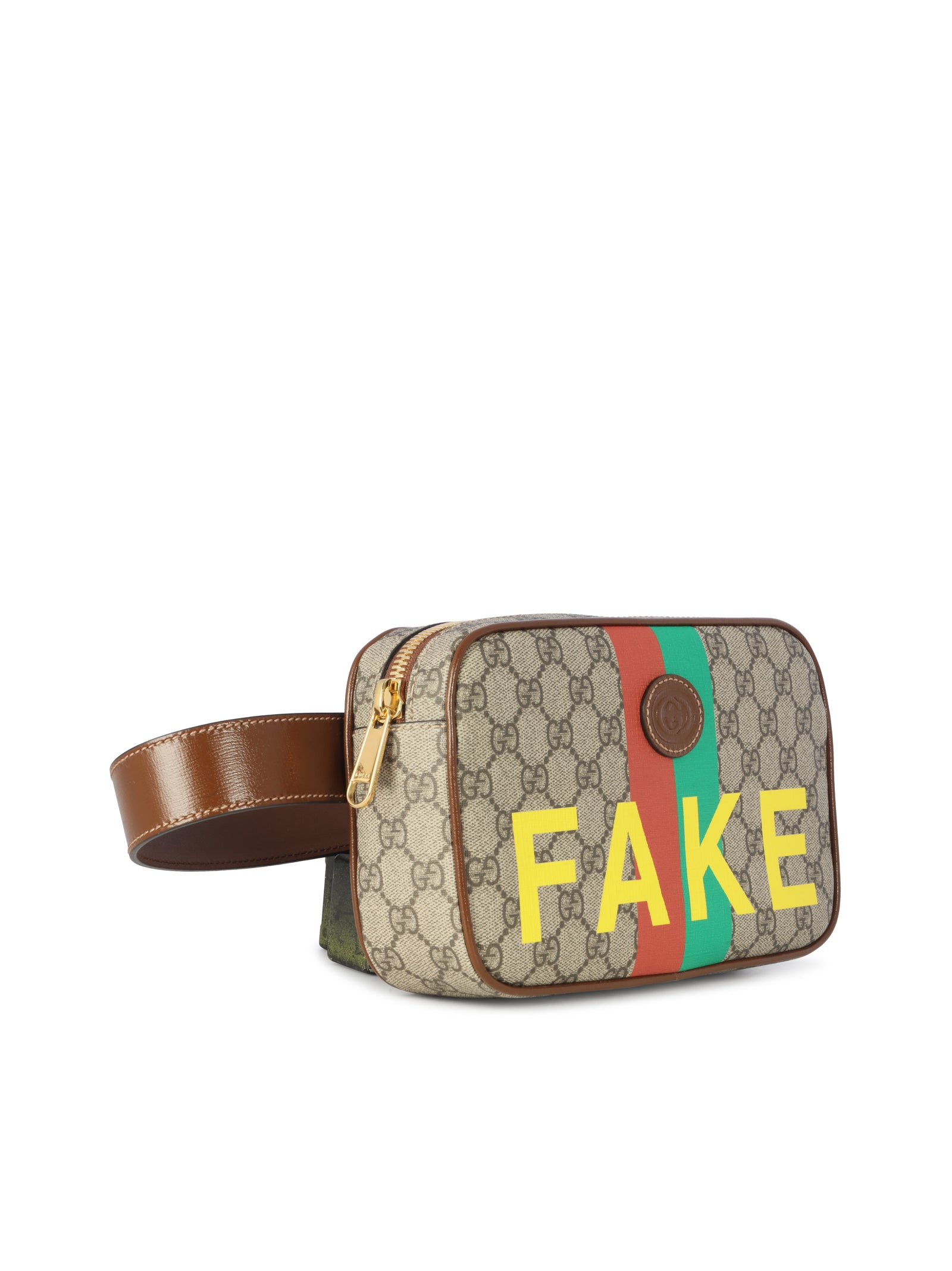 Gucci GG Supreme belt bag with fake print