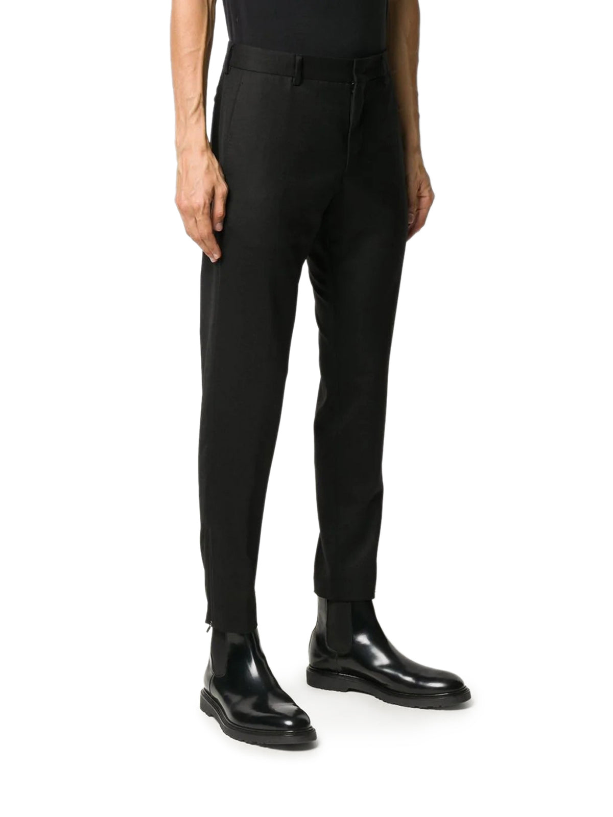 tapered-leg tailored trousers