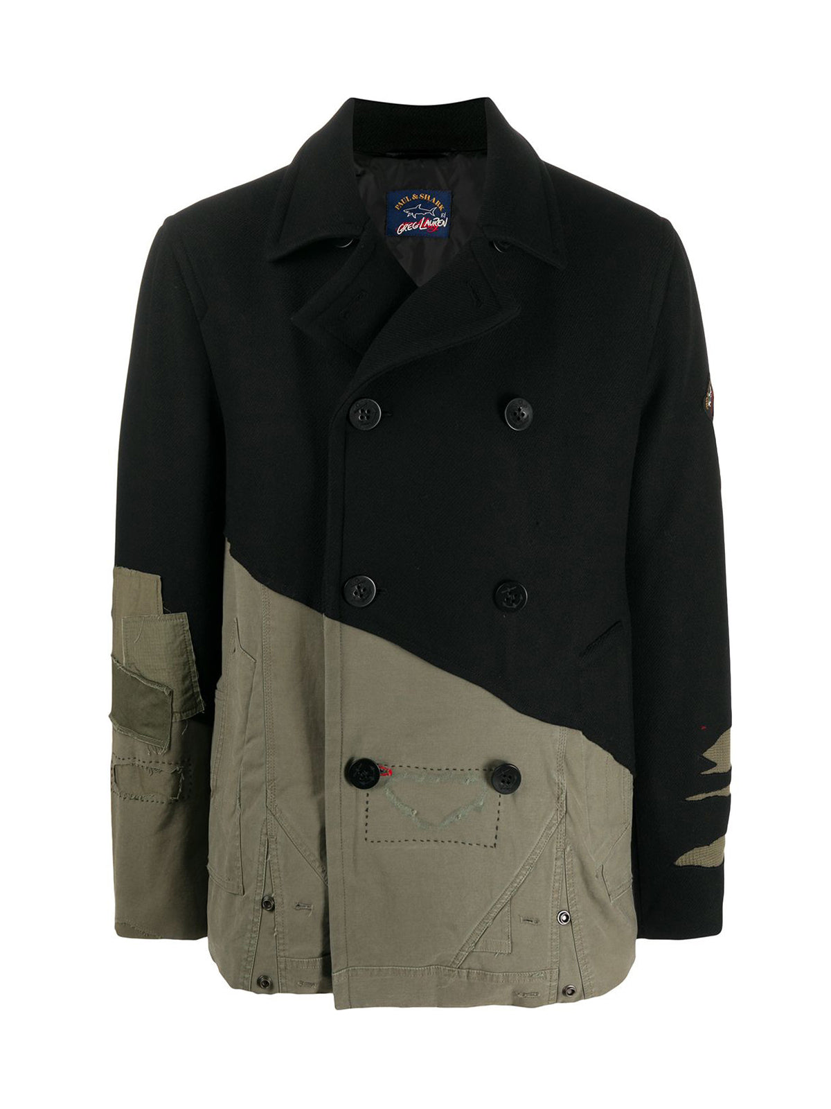 contrast panel distressed peacoat