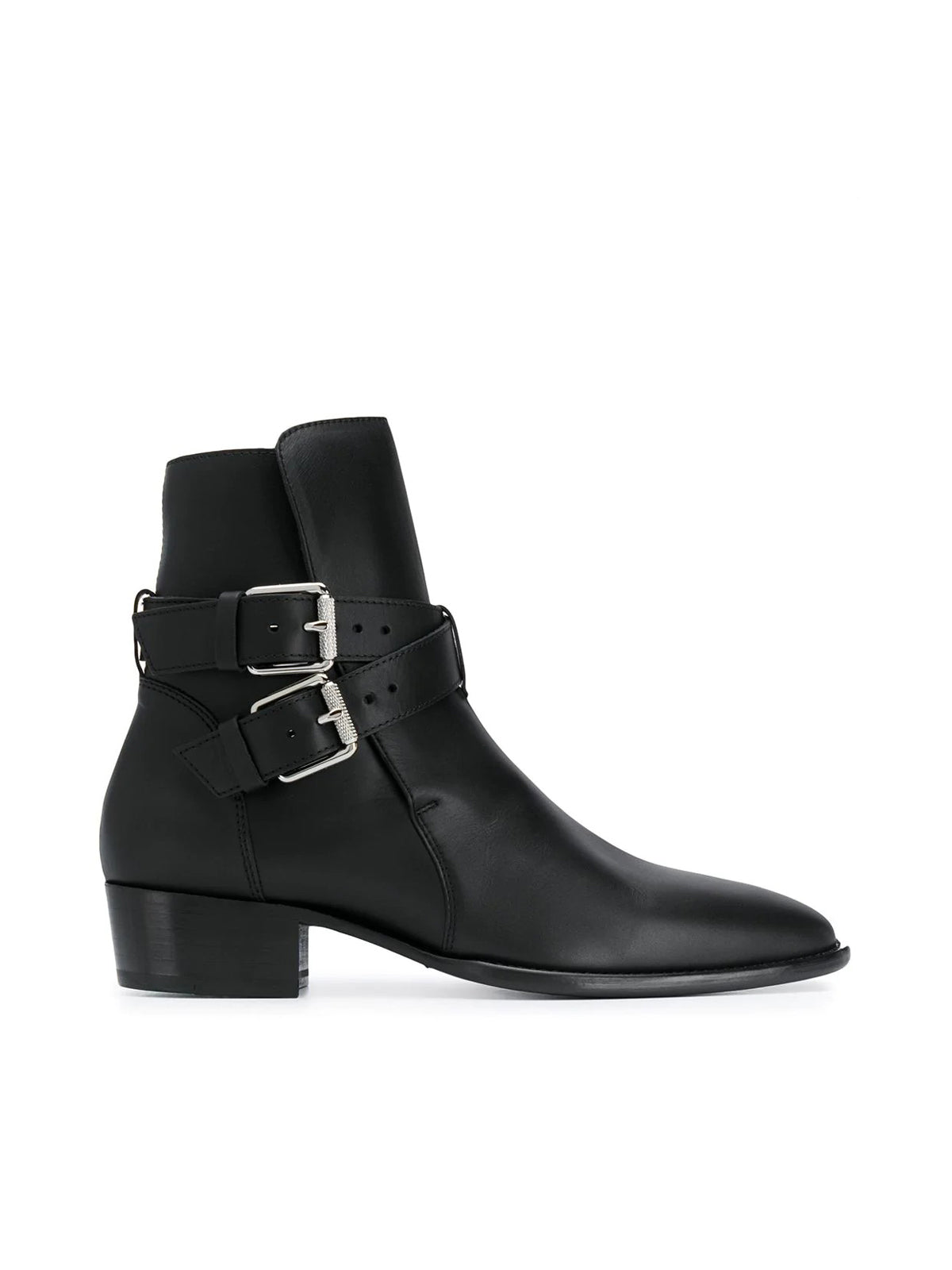 Ankle boots with double buckle
