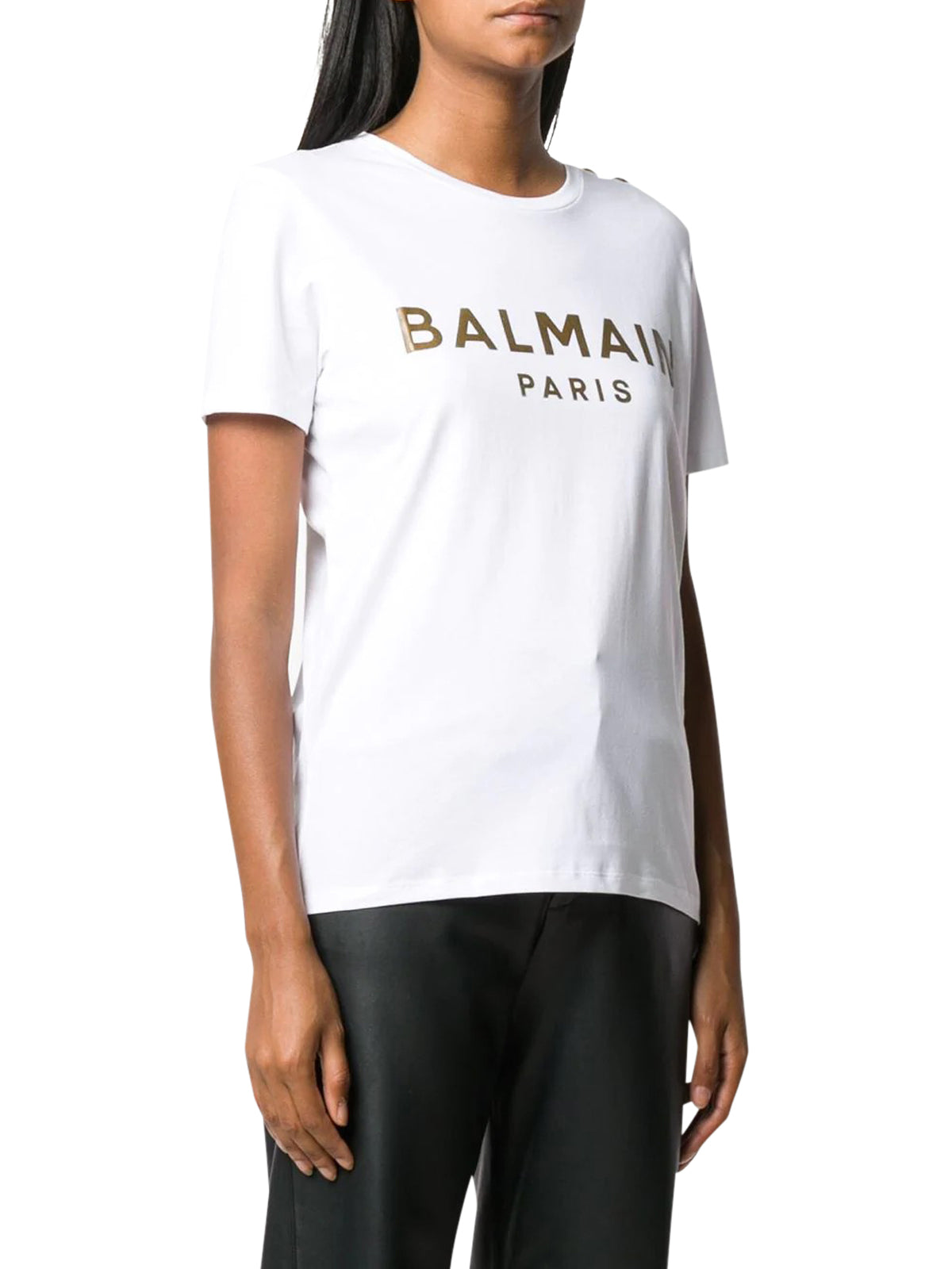 button-embellished metallic logo T-shirt