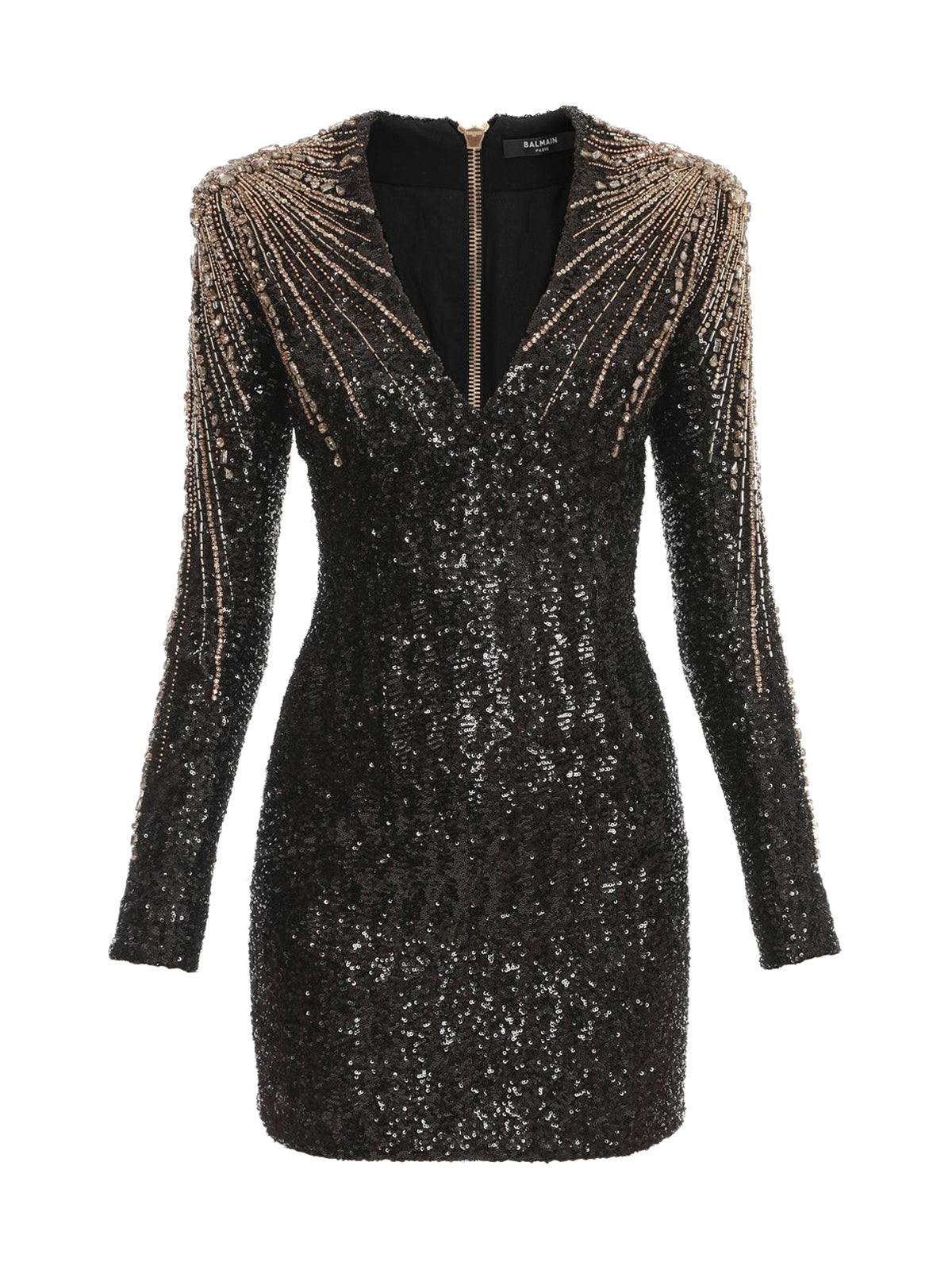 Short black, gold and silver sequinned dress