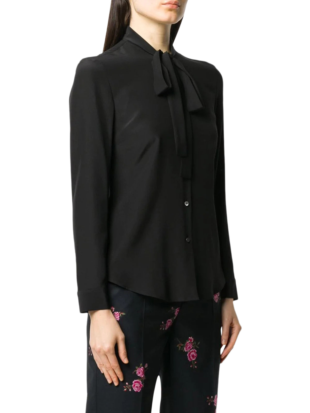 pussy-bow style silk shirt